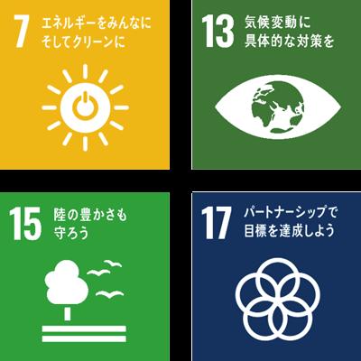 7 エネルギーをみんなに そしてクリーンに 13 気候変動に具体的な対策を 15 陸の豊かさも守ろう 17 パートナーシップで目標を達成しよう