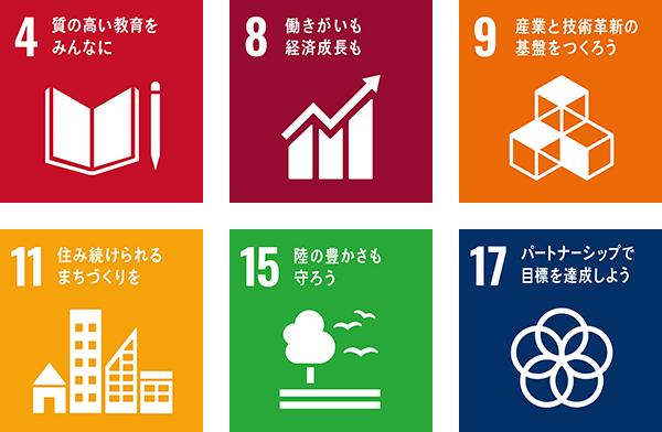 4 質の高い教育をみんなに 8 働きがいも経済成長も 9 産業と技術革新の基盤をつくろう 11 住み続けられるまちづくりを 15 陸の豊かさも守ろう 17 パートナーシップで目標を達成しよう