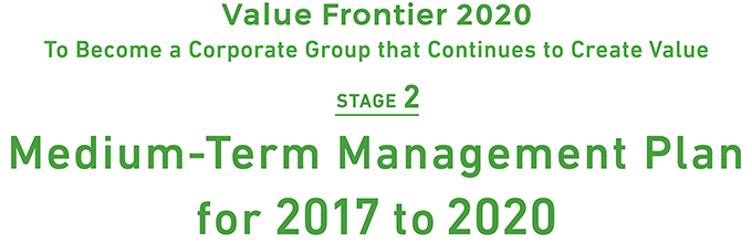Value Frontier 2020: To become a Corporate Group that Continues to Create Value Stage 2 'Medium-Term Management Plan for 2017 to 2020'