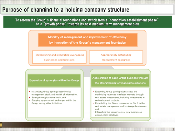 Purpose of changing to a holding company structure ...